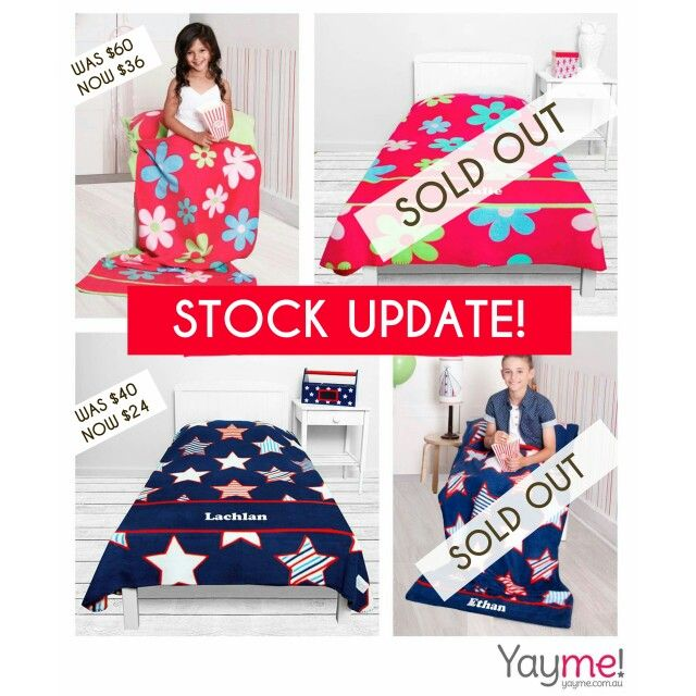 Stock Update on our Blankets and Snuggle Sacks!  Only Boys Blankets and Girls Snuggle Sacks available. ..last chance to secure yours at this price!  Email christinen@yayme.com.au to place your order.