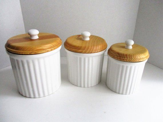 Reserved For Patsy Vintage Canister Set Ceramic Wood Lids Set Ceramic Canisters Vintage Canister Sets Vintage Canisters