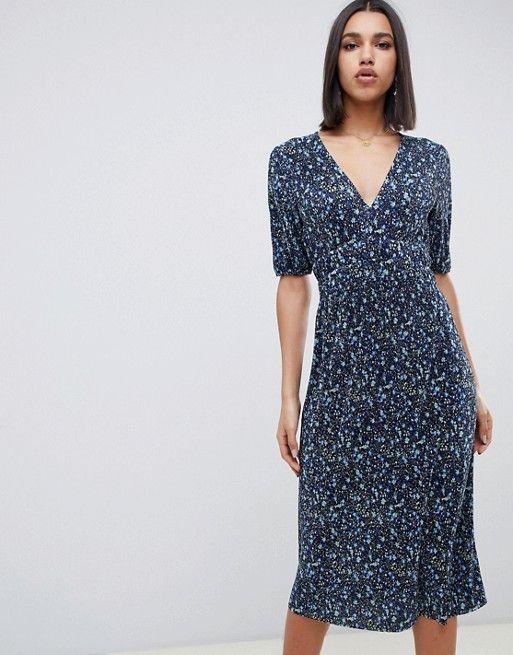 0d15872bf41 ASOS DESIGN midi ditsy print plisse tea dress with elasticated waist