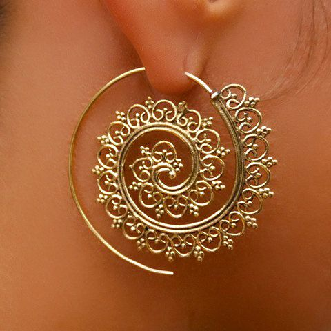 Beautiful Decorated Brass Hook Earrings - Tribal Jewelry - Hook Piercings - Brass Jewelry - Native Jewery - Ethnic Jewelry Beautiful hand made brass hook in spiral shape set with tiny balls. Suitable for normal ear piercing. Length: 40 mm Bar size: 0.9mm Nickel free! sold as pair only! $24.9
