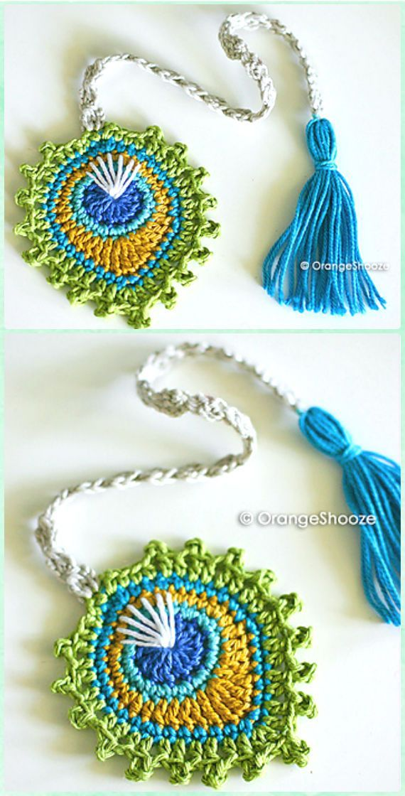 Crochet Peacock Feather Motif Bookmark Paid Pattern -10 Crochet Peacock Projects Free Patterns #CrochetBookmark