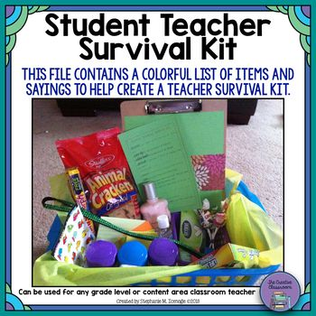 Are you going to have a student teacher in your classroom this semester and want to find a creative way to welcome them? Download my Student Teacher Survival Kit product. This fun and inexpensive gift will surely help calm any nervousness and ease your