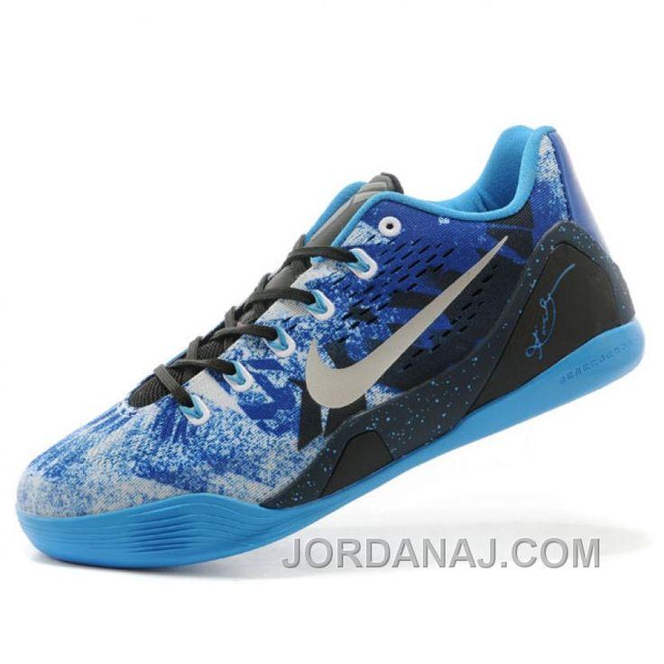 Nike Kobe Bryant 9 Premium Blue Mens Low Basketball Shoes Authentic