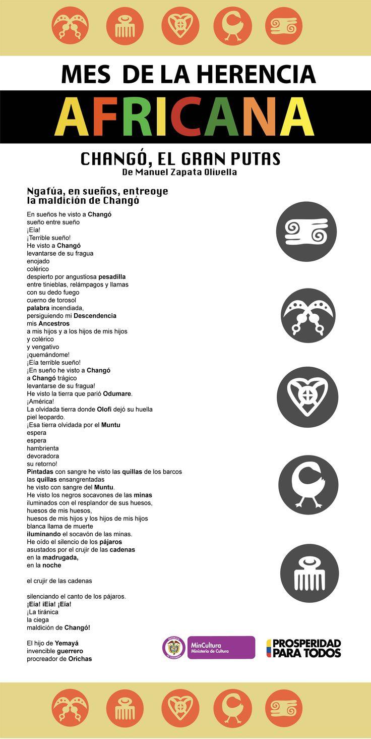 Diseño Pendón: 1mts x 2mts  Mes de la Herencia Africana (Fragmento Changó, El Gran Putas de Manuel Zapata Olivella) Ngafúa, en sueños, entreoye la madición de Changó. Mayo 2014
