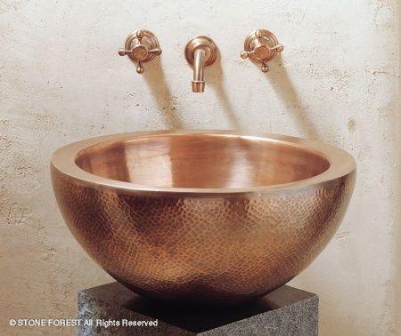 hammered copper bowl sink