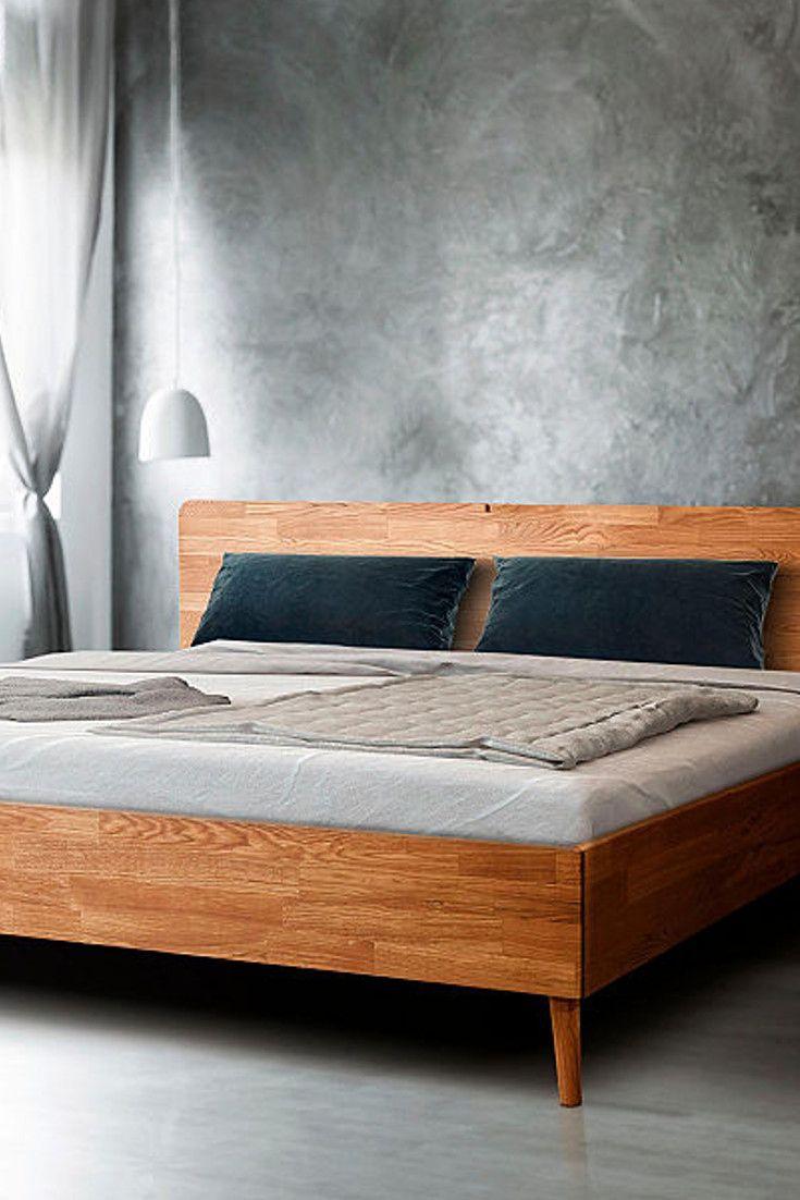 Home Affaire Massivholzbett Scandi Aus Massivem Eichenholz Mit Holzfussen Kaufen Baur Massivholzbett Bett Eiche Bett