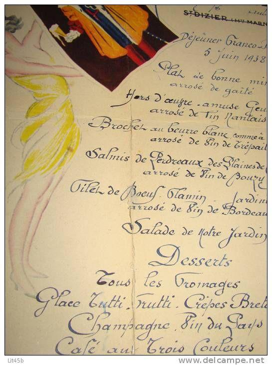 RARE,Menu avec dessin aquarelle signé,Restaurant Bernard Meneux,5/06/1938,Romilly S/S,bière du Fort Carré
