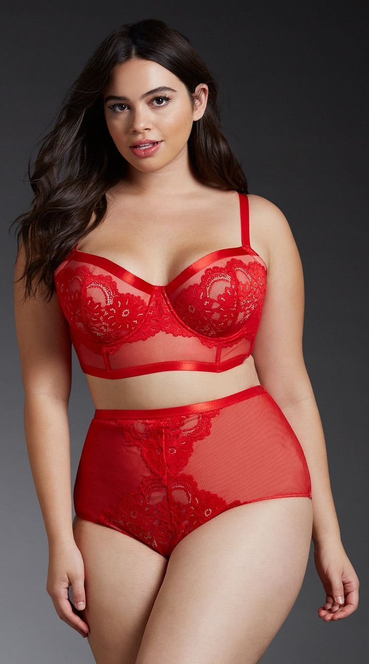 Plus Size Lace & Mesh Long Line Bralette