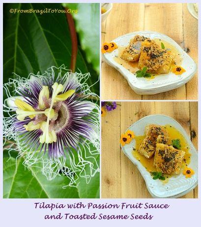 Tilapia with Passion Fruit Sauce and Toasted Sesame Seeds served with Coconut Rice (Surubim ao Molho de Maracujá e Gergelim com Arroz de Coco) - From Brazil To You