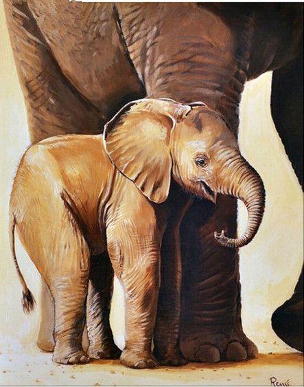5D DIY Diamond Painting Elephant Mother Son Crystal Diamond Painting Cross Stitch Animal Needlework Home Decorative