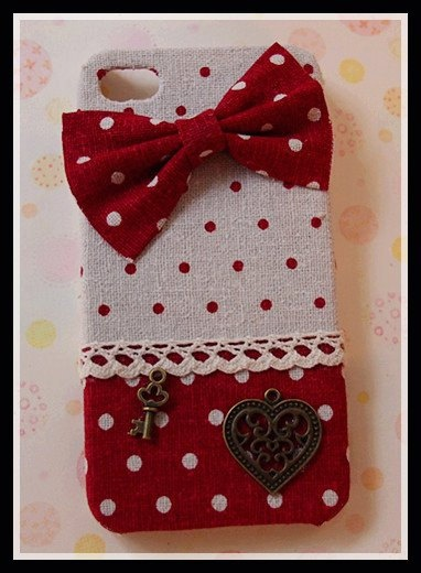 Diy Handmade Cloth Art Phone Case no.62 Red Dots with Bow for iPhone 4 4S Samsung Galaxy S2 S3 Note 2 HTC Rhyme Sensation XE XL Wildfire S. $20,99, via Etsy.
