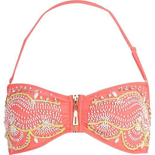 Haut de bikini bandeau Pacha corail orné - Pacha - maillots de bain / plage - femme