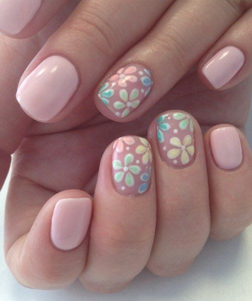 Beautiful nails 2016, Delicate spring nails, flower nail art, Gentle shellac…