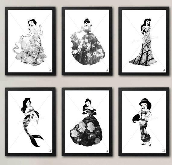 Classic Disney Princess Posters (Set of 6) - Snow White, Cinderella, Aurora, Ariel, Belle & Jasmine