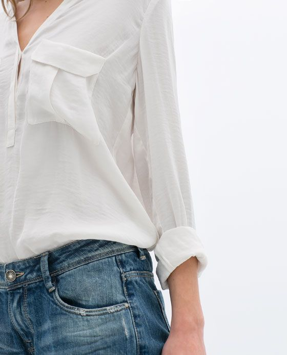 Style - Minimal + Classic : WHITE SHIRT WITH FLAPS | ZARA