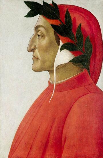 #TalDíacomoHoy en el año 1265 nacía el #poeta italiano Dante Alighieri (Retrato ideal de Sandro Botticelli, 1495