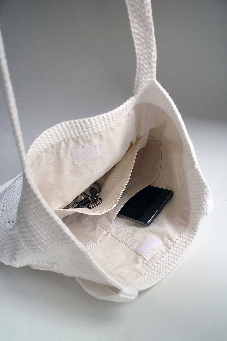 Kabelky - Háčkovaná kabelka   Taška   Biela malá crossbody - 8590029_