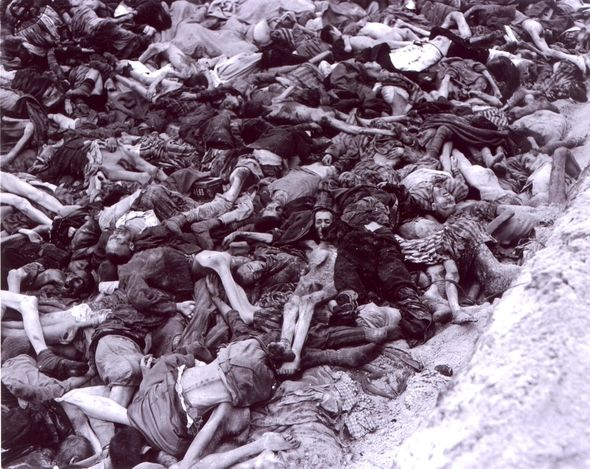 Bergen Belsen, Prisoners' dead bodies in a mass grave in the camp, a few hours after it was liberated by the British Army, April 1945. The photo submitter, Iris Bolton, is the daughter of the photographer, Charles Curtis Mitchell, who was a soldier in the American army. The cover of the album contains many details of his biography, and impressions from his visit in the camp.
