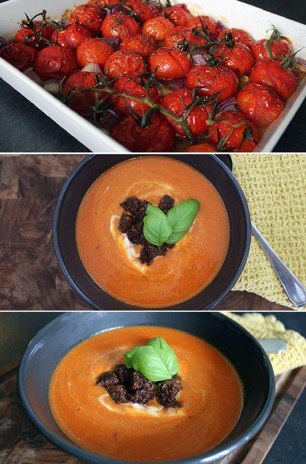 Ufattelig nem opskrift på den dejligste tomatsuppe med bagt tomater, hvidløg og rødløg.