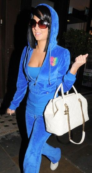 Tulisa Contostavlos leaving a hairdresser in a velour tracksuit.