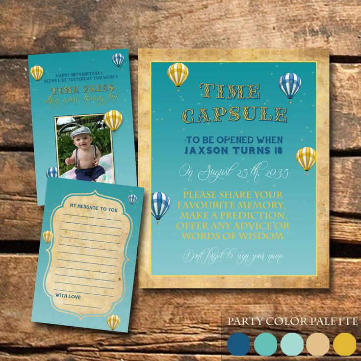 wording ideas forst birthday party invitation%0A Time Flies Airplane  st Birthday Party More  See More  Photo Time Capsule  Sign Hot Air Balloon Birthday Vintage Time Capsule Sign and Cards Poster  Notecards