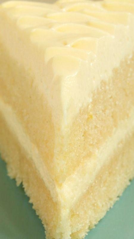 Lemon Cream Cake Recipe ~ Dense lemon cake layers and a light, fluffy, lemon-y frosting