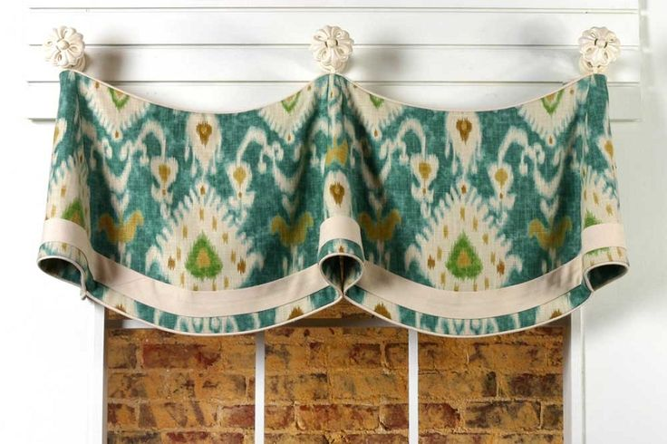 Claudine Curtain Valance Sewing Pattern mounted on knobs by Pate Meadows Designs. www.patemeadows.com