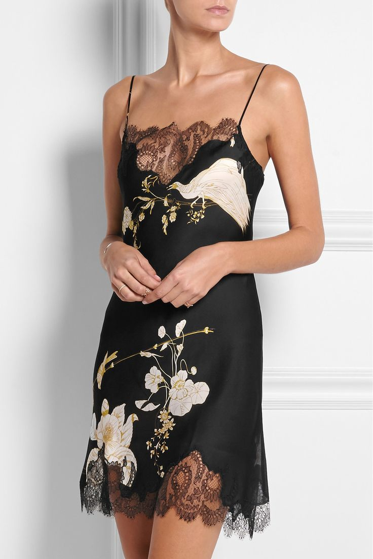 Carine Gilson|Printed Chantilly lace-trimmed silk-satin chemise|NET-A-PORTER.COM, $1120, dry clean