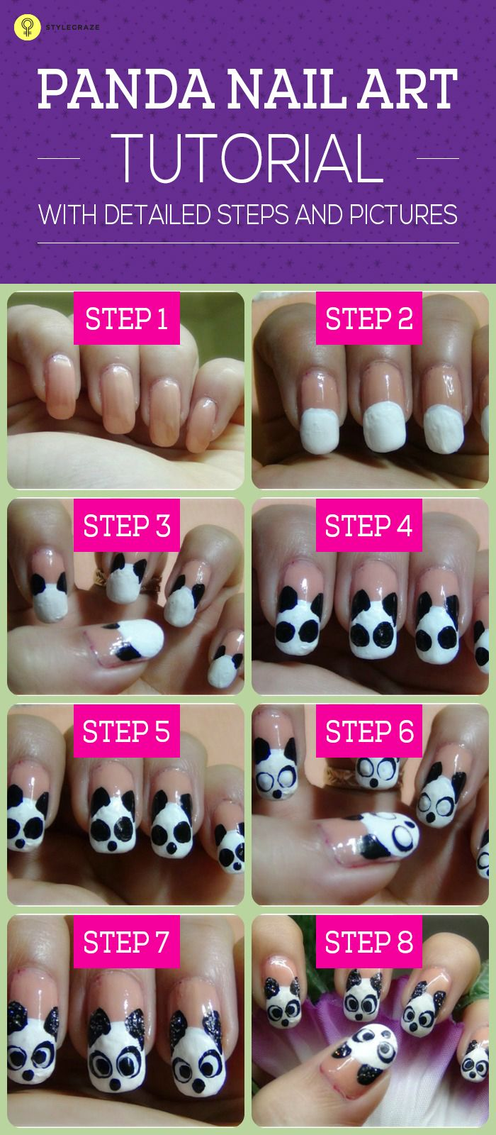 Cute nail designs are always loved and adored. Today we will show you a cute panda nail art tutorial which is actually very easy to create. Click to know more.