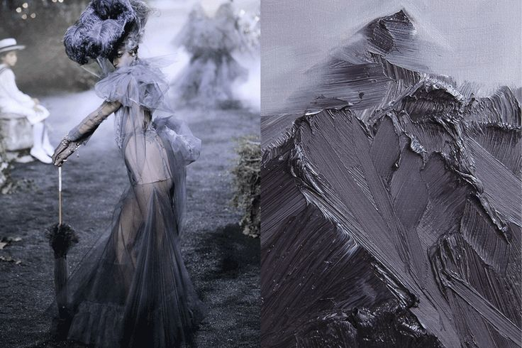 GIF of the month - Match #187 Christian Dior Haute Couture Fall 2005 | Between Heaven and Earth (series) by Conrad Jon Godly, oil on canvas GIFed by What Do I Wear, more matches here