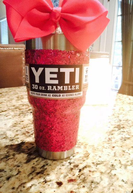 Glitter Yeti Tumbler in Hot Pink with Lid by GlitterYeti on Etsy