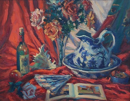 "Norman Teeling ""Still Life with Flowers"" #flowers #stilllife #oilonboard #DukeStreetGallery"