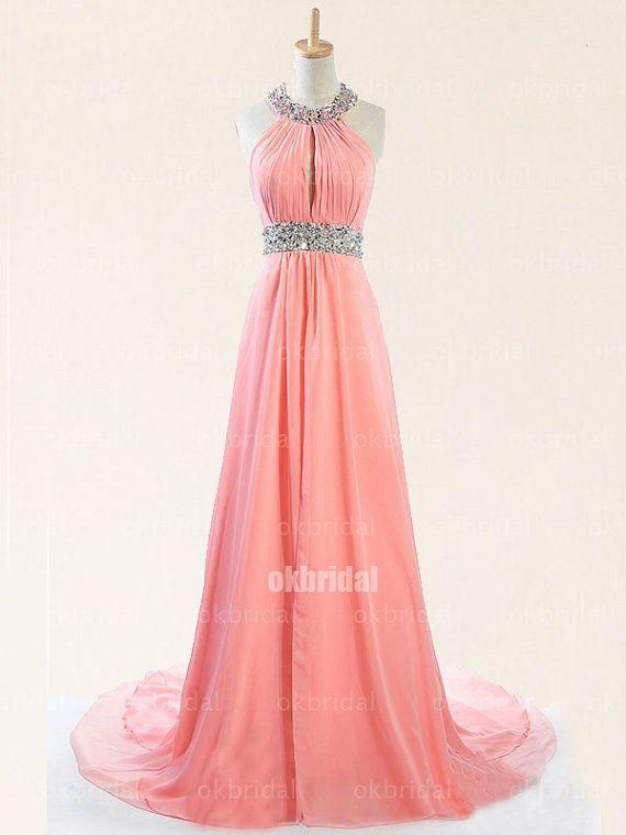 peach prom dresses long prom dresses halter prom dress by okbridal