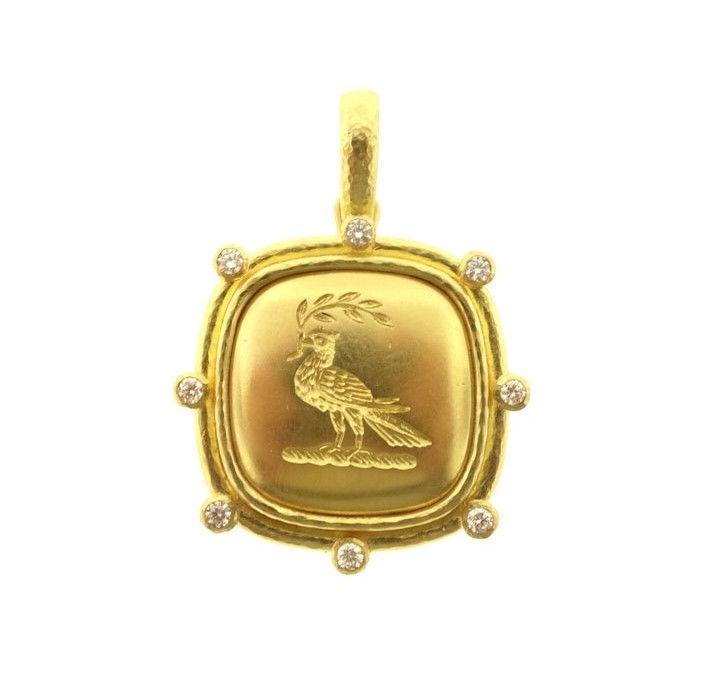 Elizabeth Locke 19k Gold Dove with Branch Pendant 7Fa9AB9K