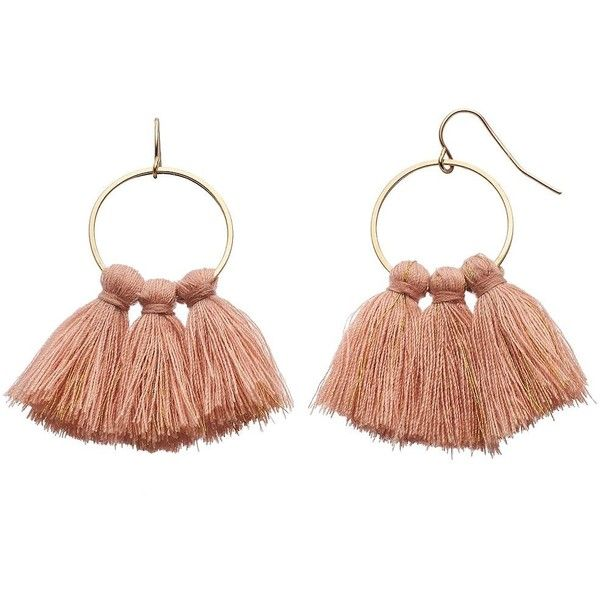 LC Lauren Conrad Pink Tassel Nickel Free Drop Hoop Earrings ($9.80) ❤ liked on Polyvore featuring jewelry, earrings, pink, tassel jewelry, pink earrings, metal earrings, hoop earrings and fish hook earrings