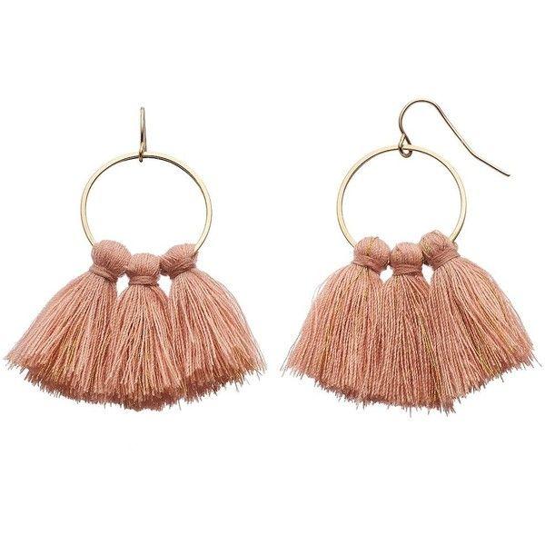 LC Lauren Conrad Pink Tassel Nickel Free Drop Hoop Earrings (£6.95) ❤ liked on Polyvore featuring jewelry, earrings, pink, metal hoop earrings, pink earrings, metal earrings, pink tassel earrings and fish hook earrings