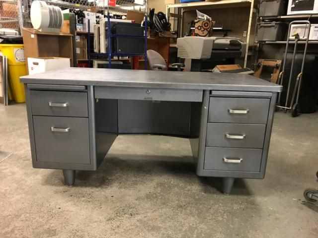 Portland State Surplus Metal Tanker Desks 60 X 30 X 30 With
