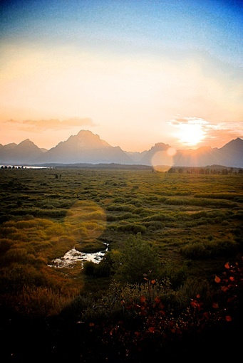 A photo that makes me think.  Sunset Jenny Lake, Wyoming.  Part of my Hostel Bookers 7 Super Shots.