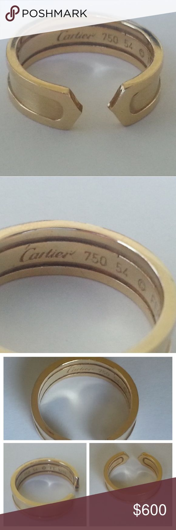 Authentic Cartier Double C 18k Y Gold Beautiful condition, very lightly pre-loved, minor surface scratches, no paperwork, box, pouch ECT. PM CONCIERGE verifiers authenticity and condition free along with Free shipping on ALL purchases $500 and up, so this is a no risk purchase! Cartier Jewelry Rings