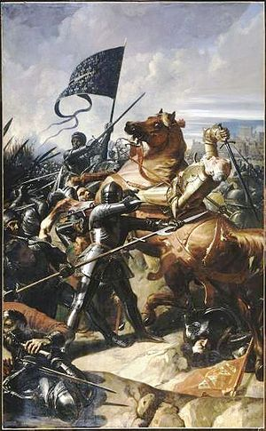 The Battle of Castillon was fought on July 17, 1453 in Gascony near the town of Castillon-sur-Dordogne (later Castillon-la-Bataille). A decisive French victory, it is considered to mark the end of the Hundred Years' War. As a result of the battle, the English lost all landholdings in France, except Calais and the Channel Islands.
