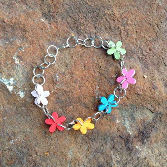Colorful flower button bracelet  gift for her  unique by leonorafi