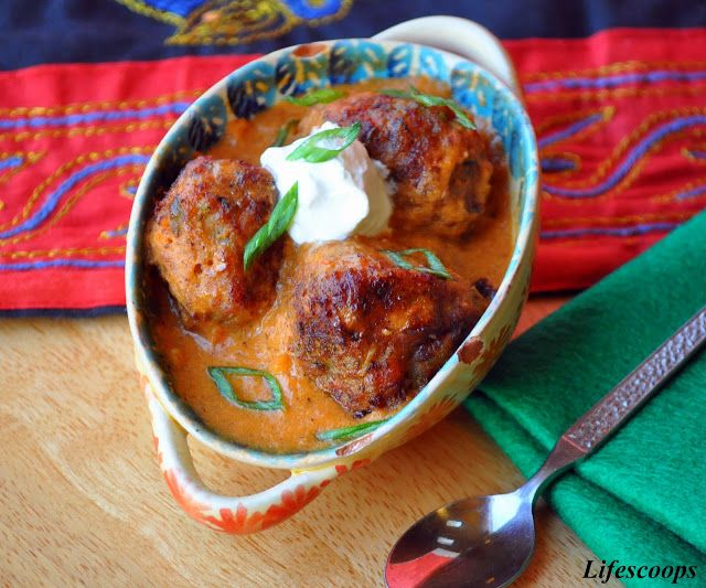 Paneer and Vegetable Kofta Curry / Cottage cheese and Vegetable Dumplings in Tomato Sauce