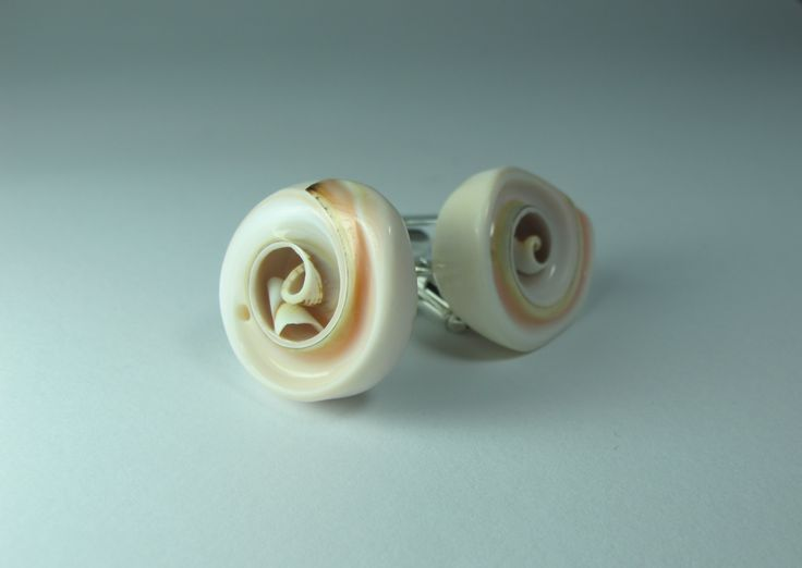 Cufflinks with shell. Nickel free steel support