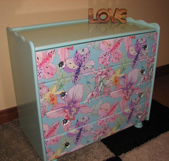 Chest of drawers mint with floral design by LiveLuxe Creative