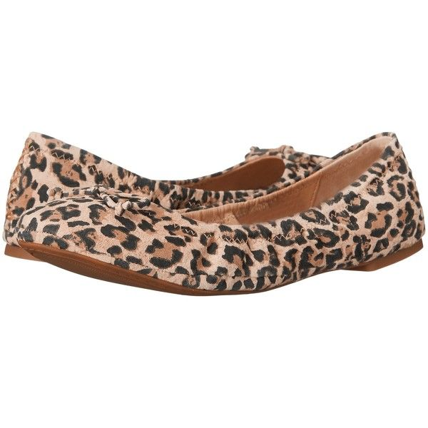 Lucky Brand Eadda (Leopard) Women's Shoes ($43) ❤ liked on Polyvore featuring shoes, flats, animal print, animal print flats, bow flats, ballet shoes, leopard ballet flats and animal print shoes