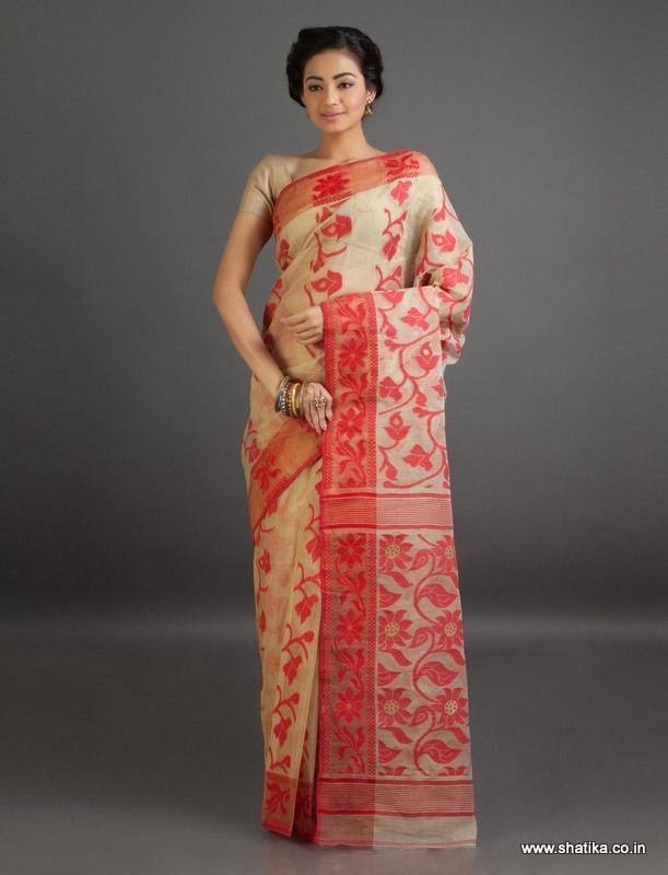 Sheena Red and Beige Bel Pattern Fine #JamdaniCottonSaree