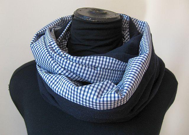 sciarpa ad anello uomo/donna , di cotone e lana blu : Sciarpe di janecolori