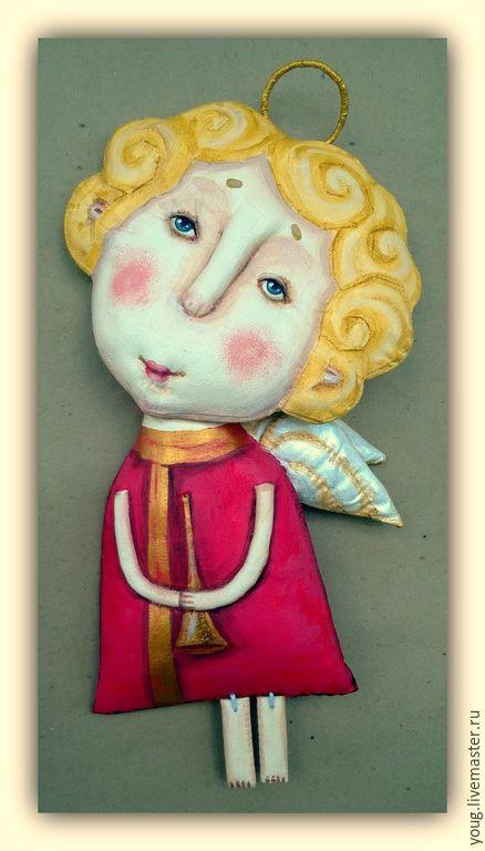 """Купить текстильная грунтованная кукла """"Ангел №3"""" - разноцветный, кукла, ангел, крылья, крылья ангела"""