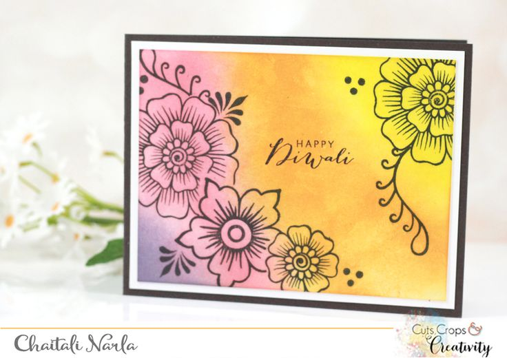 I'm back today with more Diwali cards! If you just dropped by, check out my Day 1 cards. Lets first see today's card! For this card I did some simple blending using Distress Inks for the background...