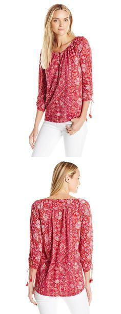LUCKY BRAND WOMEN'S TIE-SLEEVE HENLEY BLOUSE---- Colors Available: Red/Multi and Blue/Multi 60% Cotton, 40% Modal--- Peasant blouse featuring Henley placket and three-quarter sleeves with tassel-finished ties at cuffs--- Cool,Cute, Basic T Shirts Suitable for Casual and Party Wears in Summer/Spring 2016 --- Great for Gifts-----